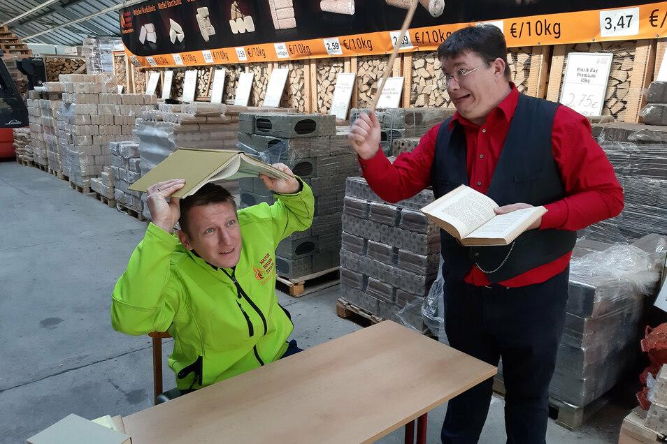 Thomas Kretschmann und Michael Kreskowsky freuen sich schon auf die humorvollen Geschichtsstunden in Hainichen.