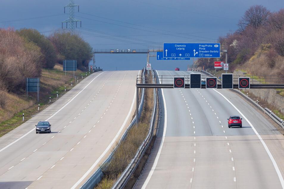 Ungewöhnlich leer zeigte sich die Autobahn A4 im März auch nahe Dresden.