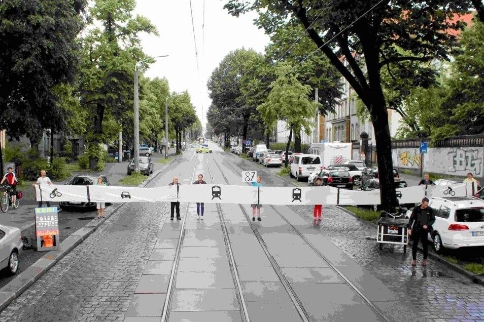 """So wünscht sich die Initiative """"Königsbrücker muss leben"""" eine neue Variante der viel diskutierten Straße in der Neustadt. Doch manch einer geht weiter."""
