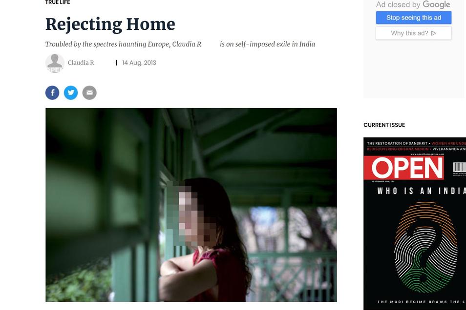 2013 schrieb Claudia R. einen Selbsterfahrungs-Bericht für ein indisches Online-Medium.