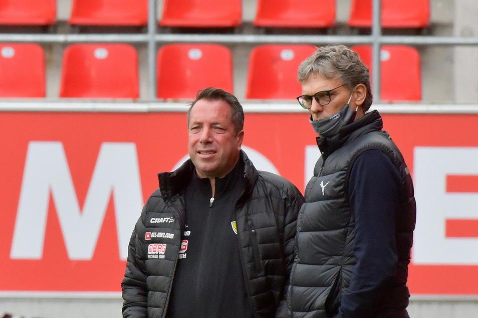 Michael Henke (r.) kennt Dynamo-Coach Markus Kauczinski aus gemeinsamen Zeiten in Ingolstadt. Als Kauczinski dort 2016 Trainer war, kümmerte sich Henke um internationale Beziehungen – und wurde sein Nachfolger.