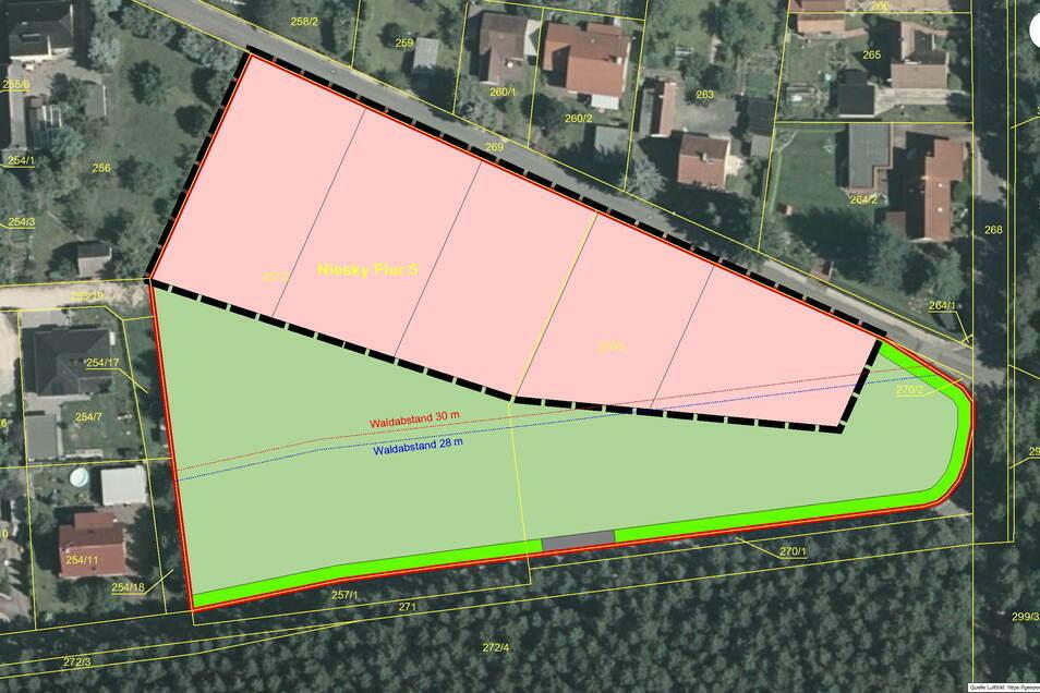 Der neue Eigenheimstandort Martinstraße/Sachsenweg in Niesky. Die rosa Fläche sind die Parzellen für fünf Eigenheime. Das Grüne muss der Natur vorbehalten bleiben.