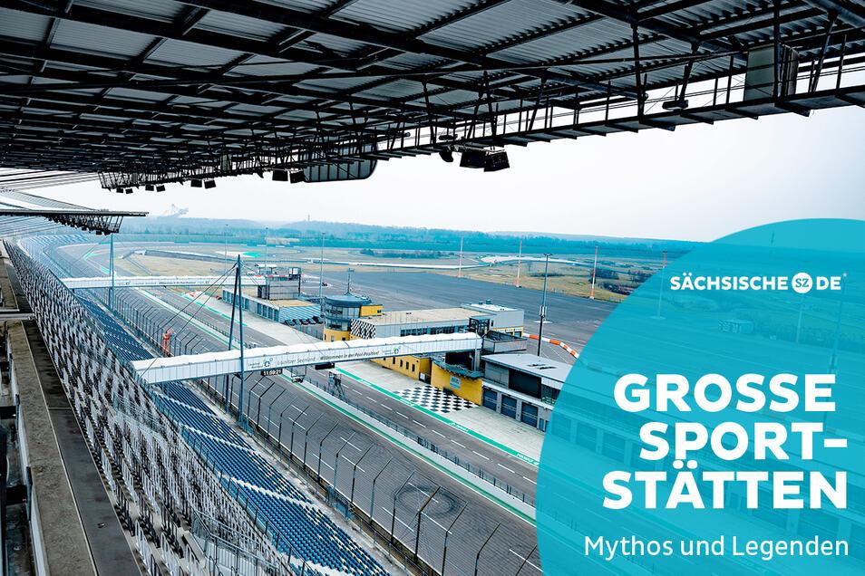 Ein Blick von der Haupttribüne des Lausitzrings. Hier ist Platz für 120.000 Zuschauer.