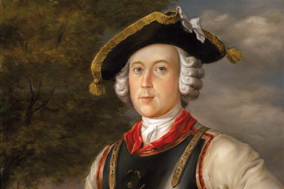 Porträt des Freiherrn von Münchhausen in der Uniform seines Kürassier-Regiments im lettischen Riga. Die Kunstfigur Baron von Münchhausen basiert auf der historischen Persönlichkeit Hieronymus Carl Friedrich Freiherr von Münchhausen, der vor 300 Jahren am