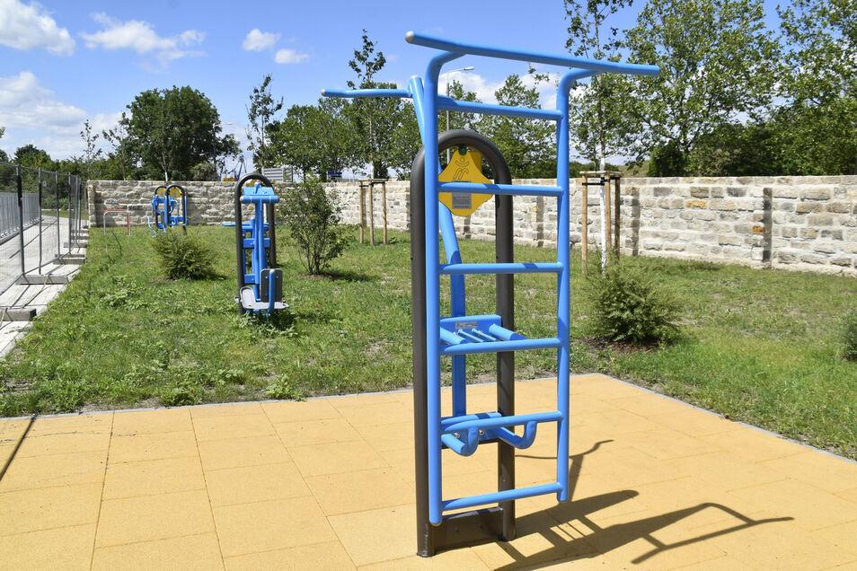 """In der öffentlichen Grünanlage """"An den Menageriegärten"""" stehen jetzt Fitnessgeräte bereit."""