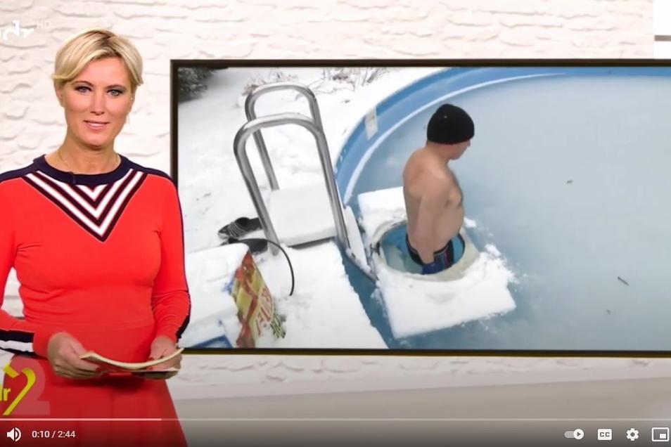 Jeden Tag steigt Steffen Träger in den Familienpool. Jetzt war der Eisbader im Fernsehen zu sehen.
