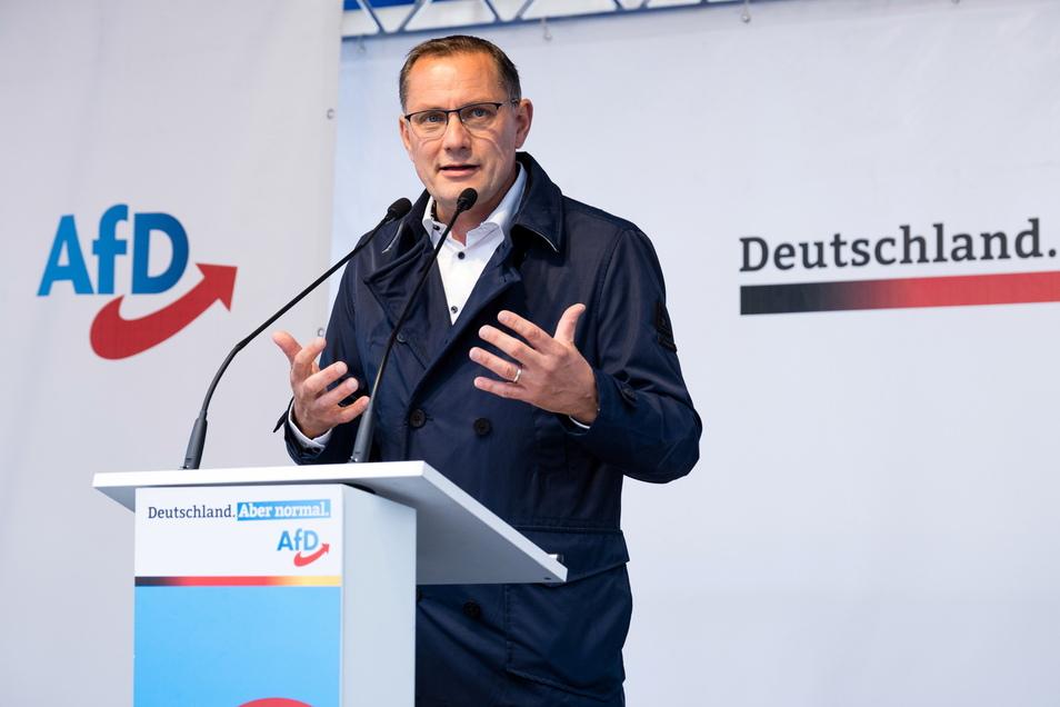 AfD-Chef Tino Chrupalla bei einer Wahlveranstaltung auf dem Marienplatz in Görlitz.