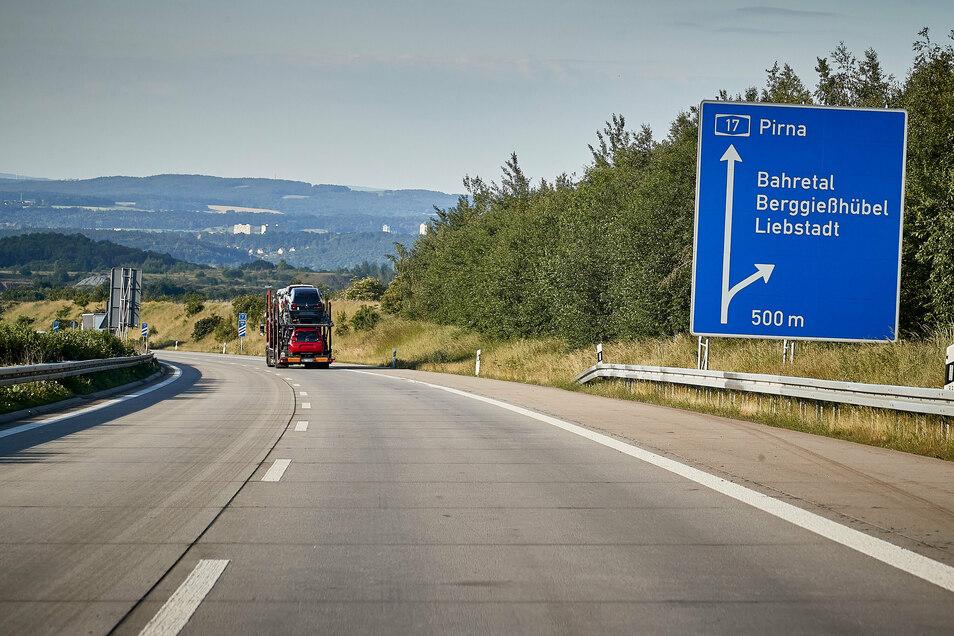 Bis Pirna läuft es auf der A17. Dann wird es eng, denn  ab 31. August wird zwischen Pirna und Dresden gebaut.