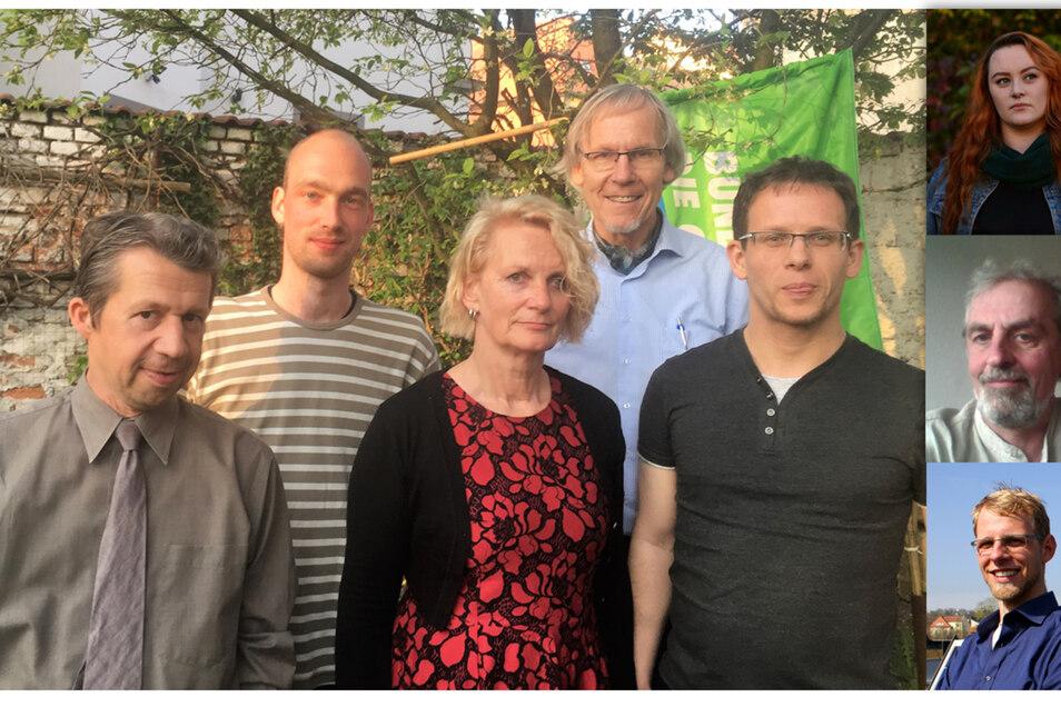 Die Kandidaten von B90/Grüne:Gruppe (von links nach rechts): Matthias Böhm, Martin Herling, Karin Kayser, Horst Schiermeyer, Philipp Schwarzbach; Einzelbilder von oben nach unten: Maxi Israel, Frank Dingeldey, Lukas Stöckmann