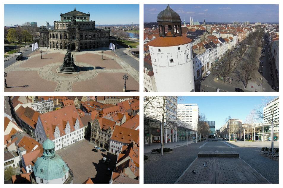Einsames Sachsen: der Dresdner Theaterplatz, die Elisabethstraße in Görlitz, der Markt in Meißen und die Prager Straße in Dresden (von oben links nach unten rechts).
