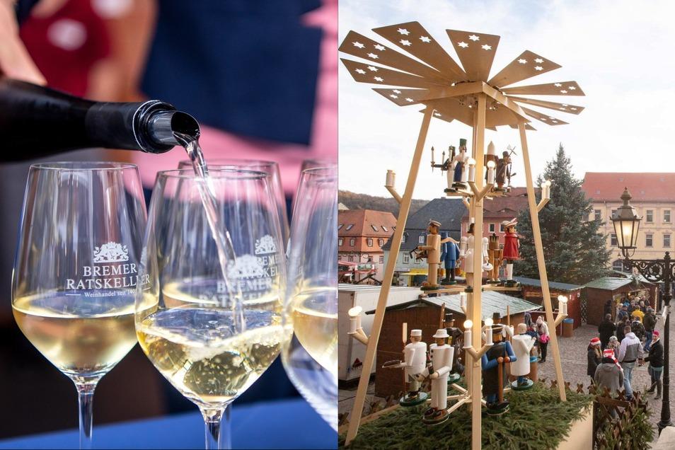 Leckerer Wein in vielen Variationen wird am 18. September beim Weinfest in Roßwein ausgeschenkt. Der Weihnachtsmarkt folgt am Ersten Advent.
