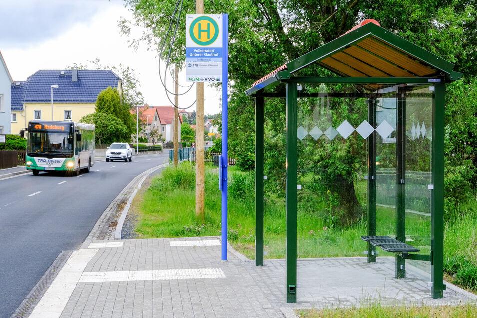 Die Linie 478 in Volkersdorf. Durch veränderte Abfahrtzeiten garantiert sie gemeinsam mit der Bus-Linie 477 jetzt an Wochenenden einen Stundentakt zwischen Radeburg und Dresden.