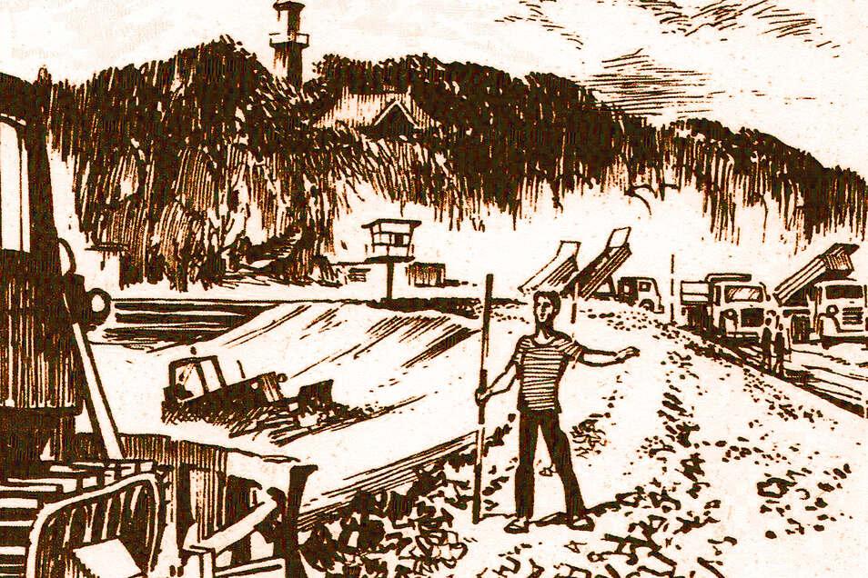 Versuch einer Sanierung 1989: Die Arbeiten am Volksbad-Damm hielt der Görlitzer Maler Günter Hain damals mit seinem Zeichenstift fest.