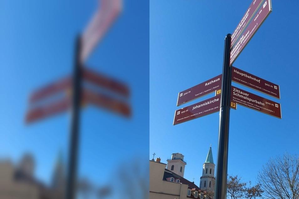 Diese Schilder sollen Touristen vor allem zu den Sehenswürdigkeiten der Innenstadt leiten.