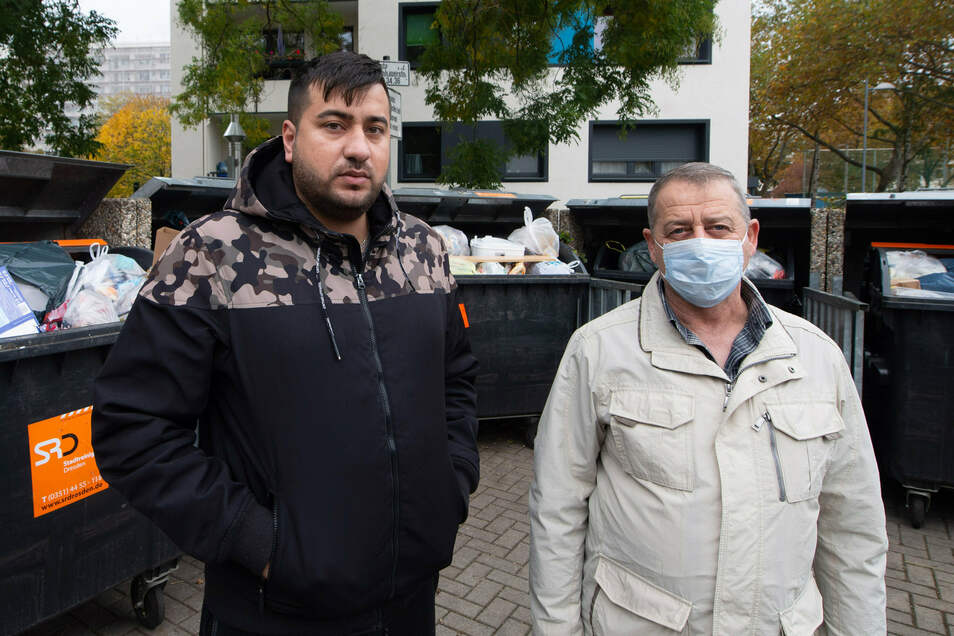 Die beiden Mieter Hussein Yassin (23) und Adnan Akmardini (56) verstehen nicht, warum sich ihre Mitbewohner nicht an die Regeln zur Mülltrennung und Sperrmüllbeseitigung halten.