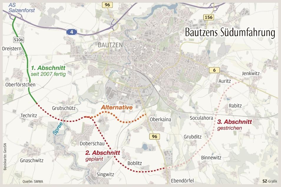Viel näher zur Stadt Bautzen könnte der zweite Abschnitt der Südumfahrung verlaufen. So sieht es ein neuer Vorschlag vor, der gerade geprüft wird.