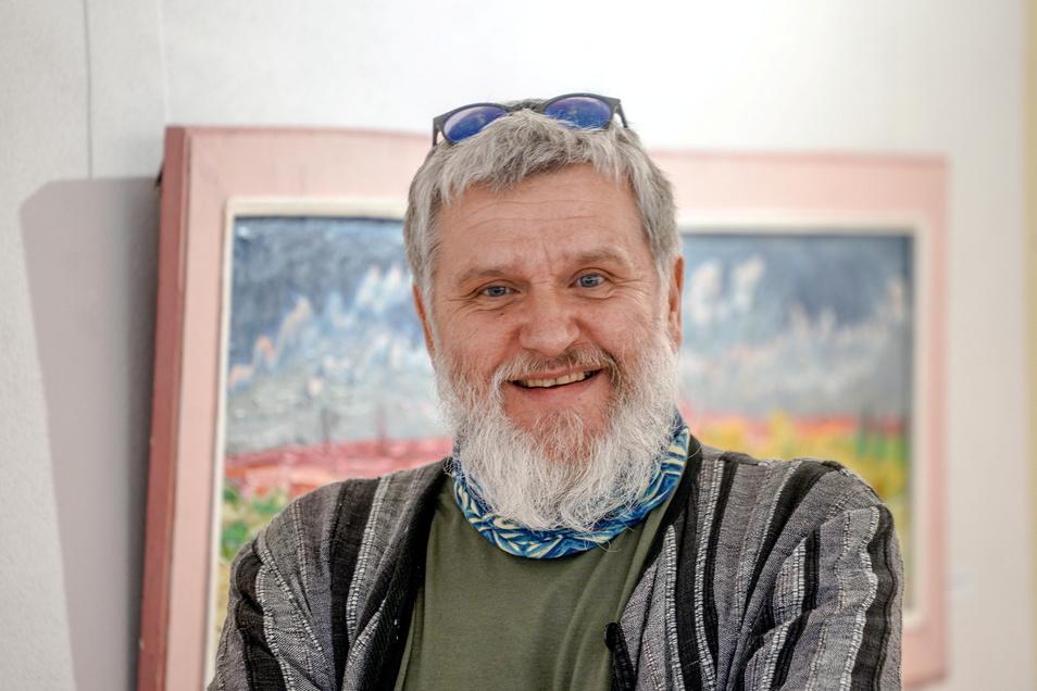 Maler Falk Nützsche möchte zusammen mit seinem Kollegen Silvio Fritzsche über Pfingsten das Atelier für Besucher öffnen.