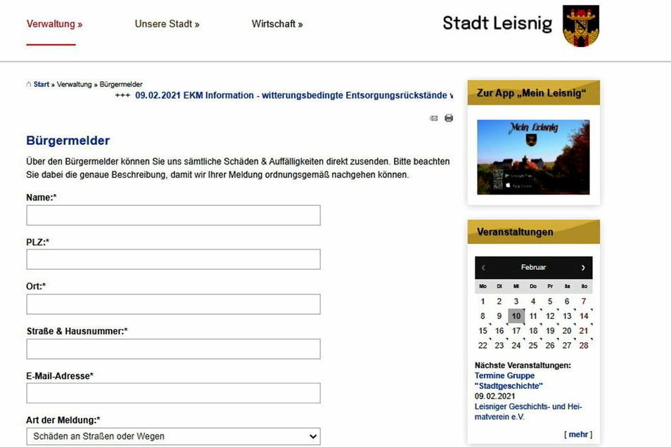 Auf der neu gestalteten Internetseite von Leisnig haben Besucher die Möglichkeit, der Verwaltung einen Hinweis zu geben: auf kaputte Straßen, Fußwege, Lampen, Bänke, illegal abgelagerten Müll und anderes mehr.