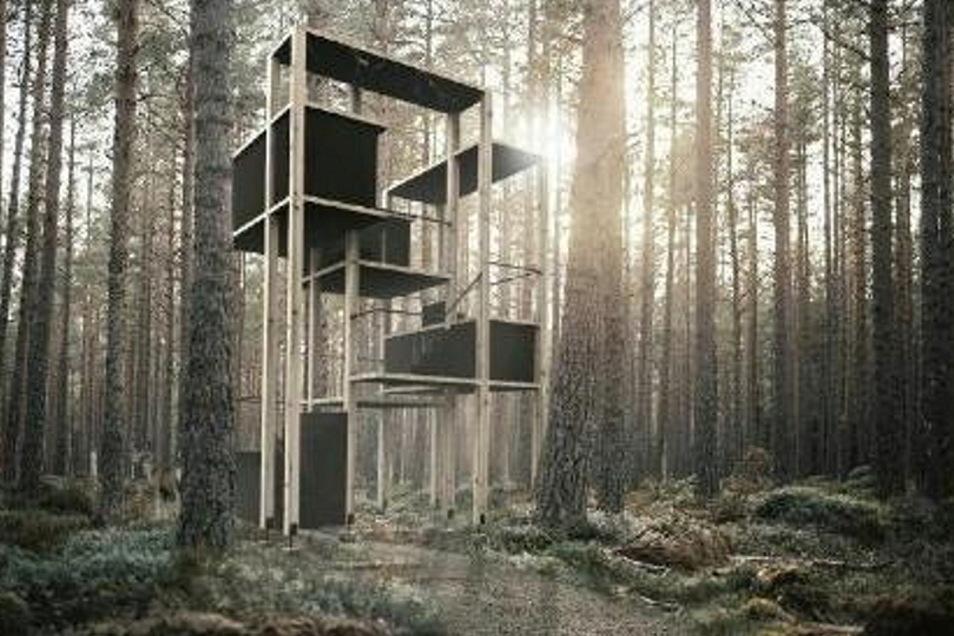 An einen Hochstand angelehnt ist der Entwurf von Anne-Sophie Schoß. Auf der knapp acht Meter hohen Baumhaus-Konstruktion verteilen sich auf mehreren Ebenen sogenannte Schlafkapseln, die per Schiebetür verschlossen werden können. Wanderer können von den verschiedenen Plattformen zudem einen neuen Ausblick in de Wald genießen.