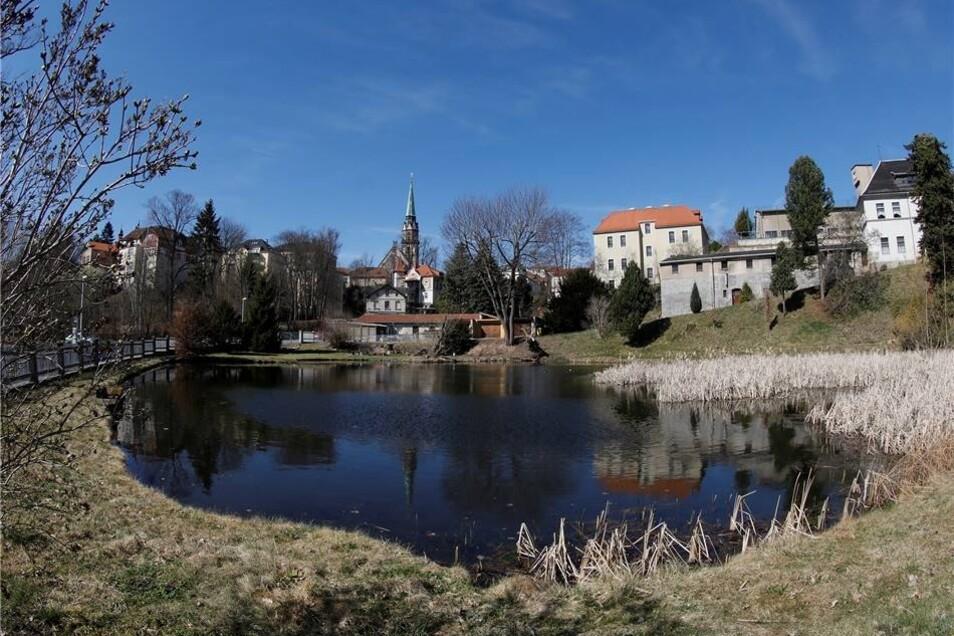 Stadtansicht im Sonnenschein: Von verschiedenen Blickwinkeln auf Löbau aus bieten sich schöne Fotomotive in der Frühlingssonne.
