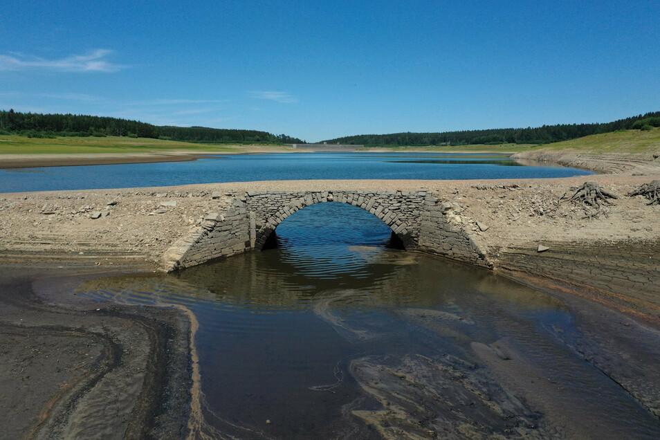 Niemand weiß, wie sicher die Steinbrücke in der Talsperre Lehnmühle noch steht. Aus diesem und noch einem zweiten Grund, verbietet die Landestalsperrenverwaltung das Betreten des Gebiets.