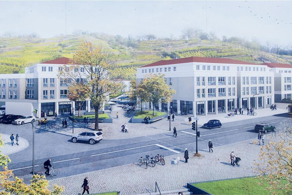 So soll es Ende 2022 an der Meißner Straße aussehen. Am Dienstagvormittag war Baustart auf dem ehemaligen Glasinvest-Areal.