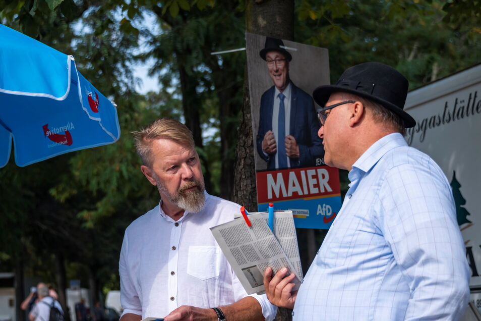 Im Wahlkampf vereint wollten Andreas Harlaß und Jens Maier für die AfD in den Bundestag. Daraus wurde nichts.