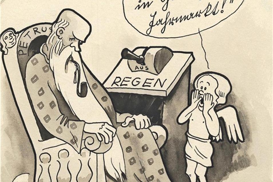 So karikierte Günter Hain den total verregneten Jahrmarkt von 1933 in einen seiner ersten Zeitungsbilder.