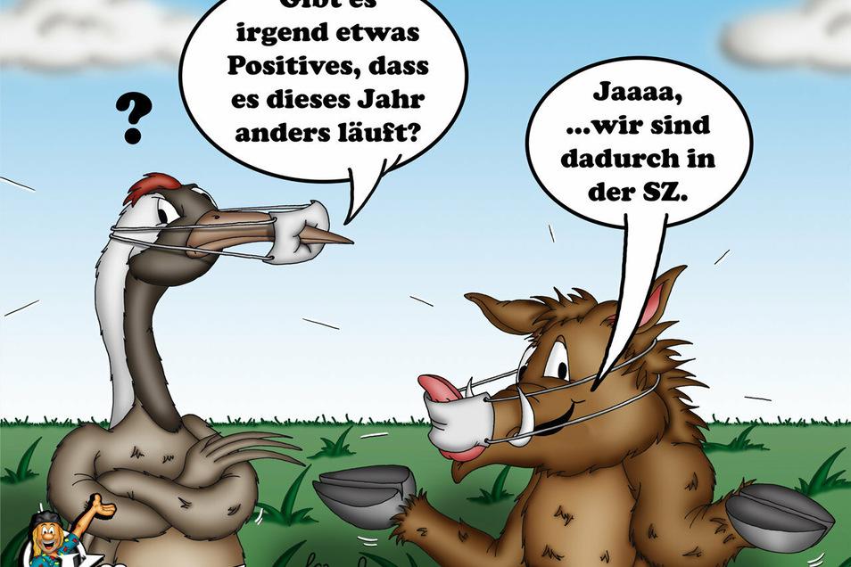 """Der Nieskyer Cartoon-Künstler """"Kümmel"""" hat die Maskottchen Kranich und Eber der aktuellen Lage angepasst."""