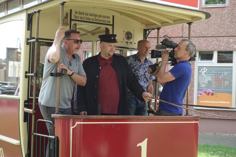 Im Juni hatte Thomas Böttcher mit dem MDR gedreht. Er fuhr in Döbeln mit der Pferdebahn.