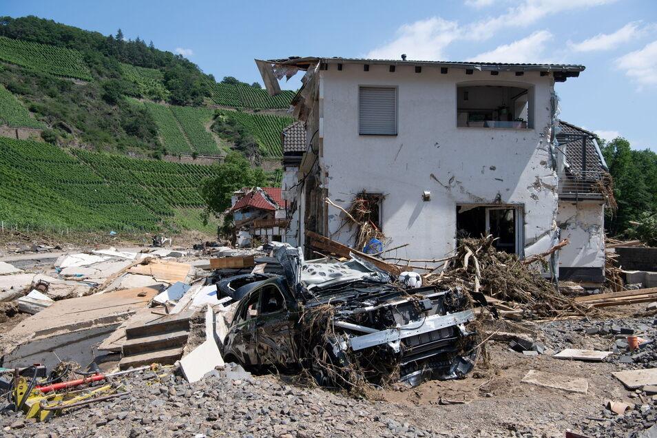 Ein komplett zerstörtes Haus in Marienthal im Ahrtal.