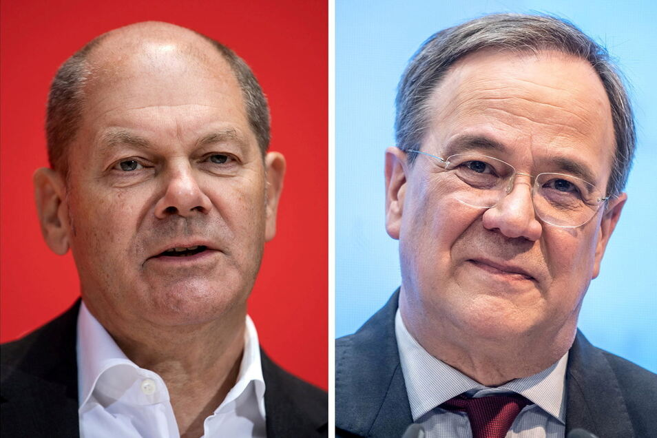 SPD-Kanzlerkandidat Olaf Scholz (l.) hat Unions-Kandidat Armin Laschet (CDU) nach einer aktuellen Umfrage in der Wählergunst überholt.