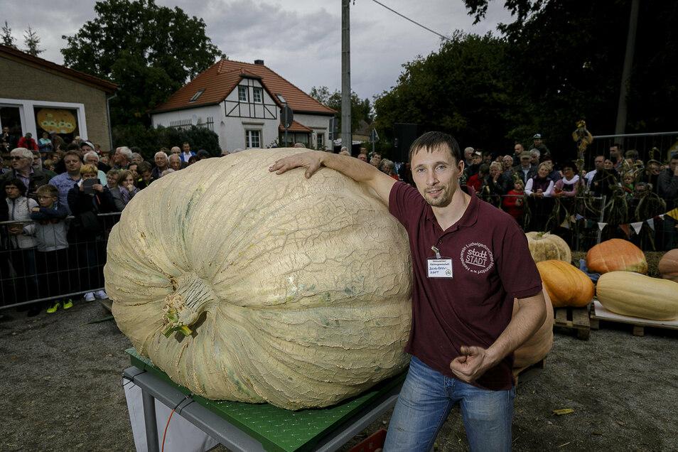 Andreas Baumert war voriges Jahr der Gewinner beim Kürbiswiegen in Ludwigsdorf. Sein Kürbis brachte 738,64 Kilogramm auf die Waage.