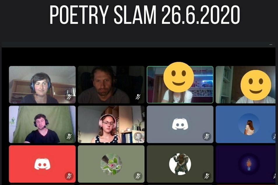 So sah es auf einigen Bildschirmen aus, als sich die Jugendlichen zum ersten Mal zu einem Poetry Slam trafen.