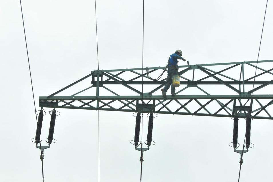 Für den neuen Rostschutzanstrich braucht die Enso allein in diesem Jahr 1,3 Millionen Euro. 520 000 Euro davon nur auf dem Abschnitt Großenhain bis Görzig, auf dem 45 Strommasten stehen.