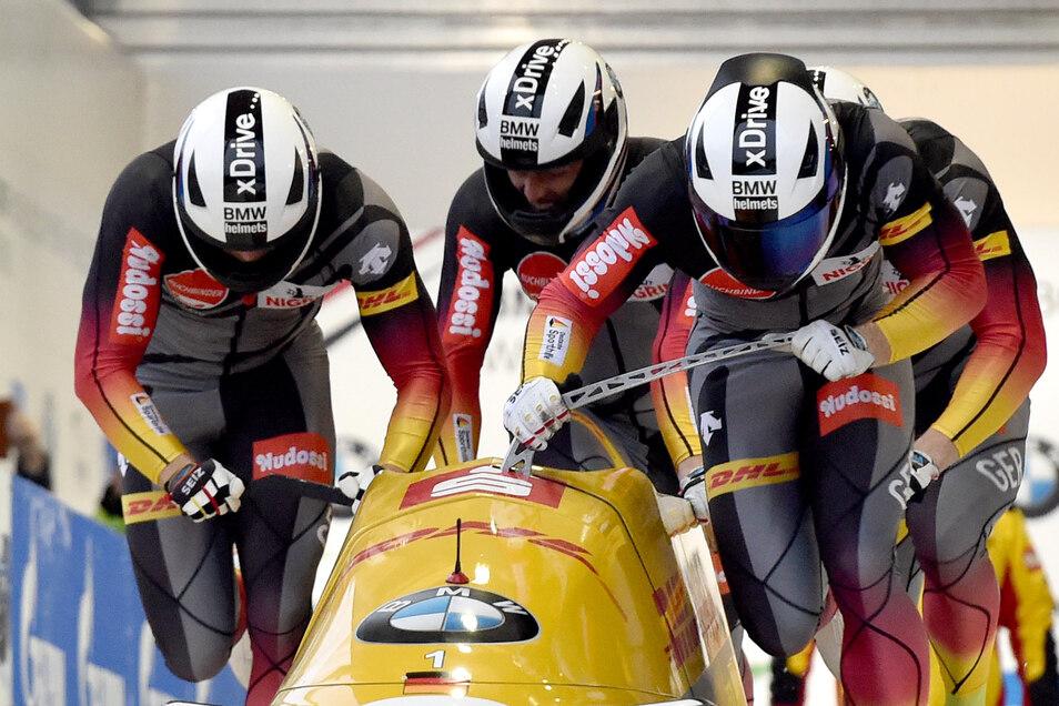 Die Nummer eins im Vierer: Francesco Friedrich und sein Team gewinnen den Gesamtweltcup im großen Schlitten.