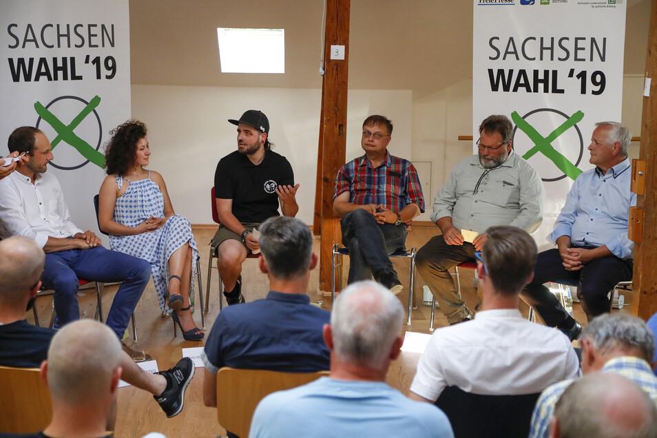 Die sechs Direktkandidaten waren im Juni schon zum Wahlforum in der Hillerschen Villa zu Gast - damals als Veranstaltung der Sächsischen Landeszentrale für politische Bildung mit der SZ.