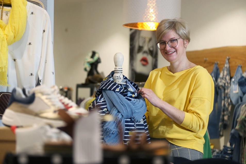 Claudia Mückel-Branig ist Vorsitzende der Werbegemeinschaft Innenstadt Riesa. Sie hofft darauf, dass im Zuge der Corona-Krise mehr Menschen lokal einkaufen statt im Internet.