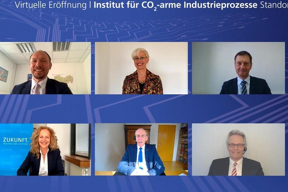 Die Eröffnung des neuen Zittauer Forschungsinstituts fand virtuell statt. Die Ehrengäste waren online zugeschaltet.