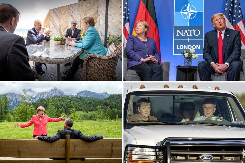 Diese US-Präsidenten traf Bundeskanzlerin Angela Merkel (CDU) (o l - u r): Joe Biden (2.v.l ), Donald Trump, Barack Obama und George W. Bush.