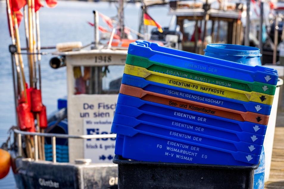 Leere Fischkisten stehen auf dem Steg im kleinen Fischereihafen von Tarnewitz an der Ostseeküste. Dezimierte Fischbestände und sinkende Fangmengen verschärfen die Lage bei den deutschen Ostseefischern.