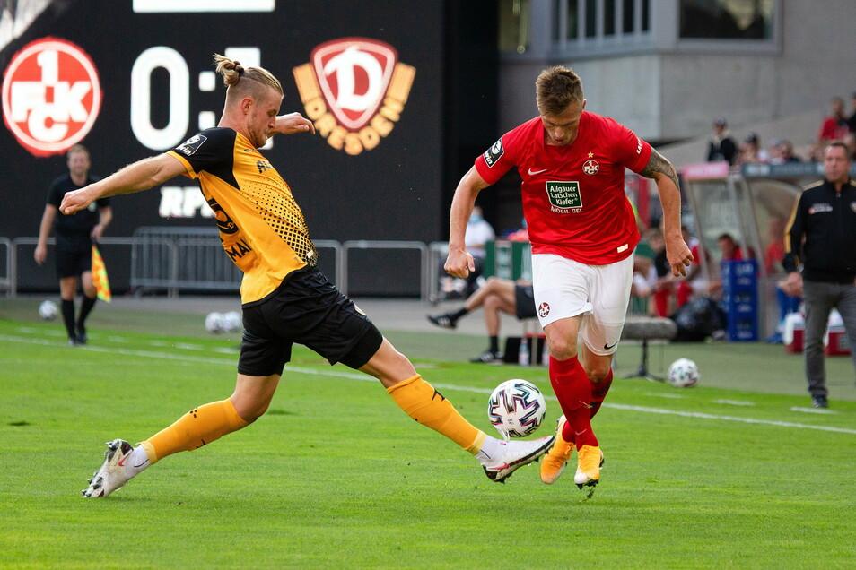Sebastian Mai (links), hier gegen Marvin Pourie, hatte im Hinspiel gegen Kaiserslautern den einzigen Treffer erzielt.
