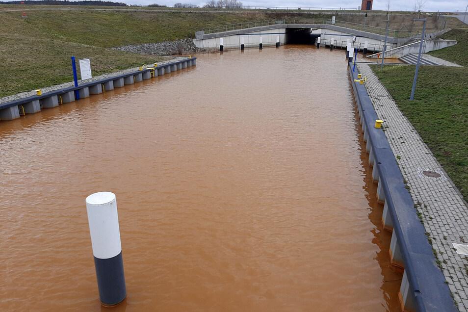 Der Koschener Kanal ist gut gefüllt. Die Verfärbung dank Eisenhydroxid ist kein schöner Anblick, gesundheitlich aber ungefährlich.