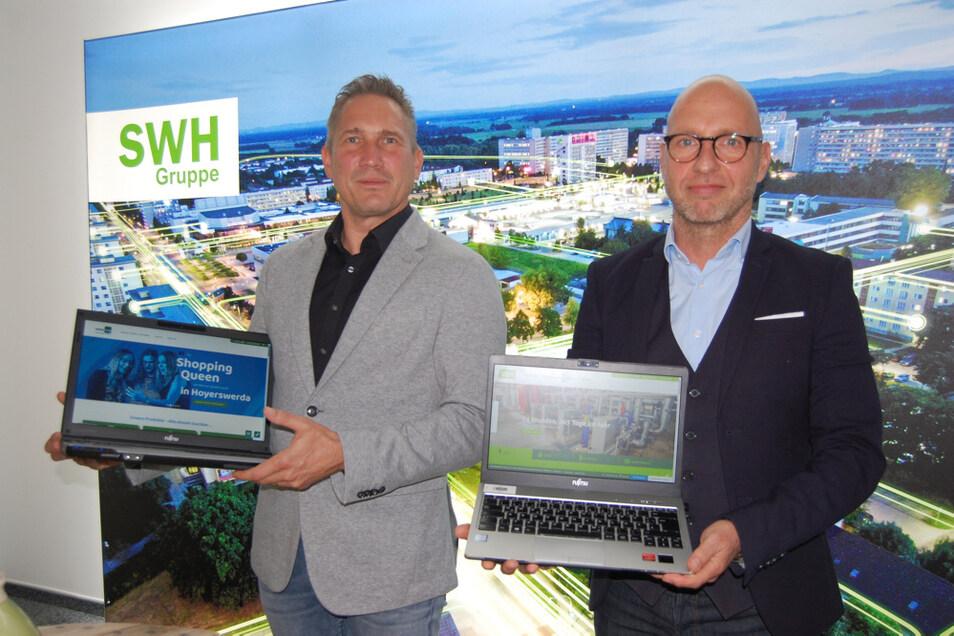 Jan Schulze (links) und Wolf-Thomas Hendrich stellten die neuen Internetseiten von BBH beziehungsweise Kabelmax und Versorgungsbetrieben vor.