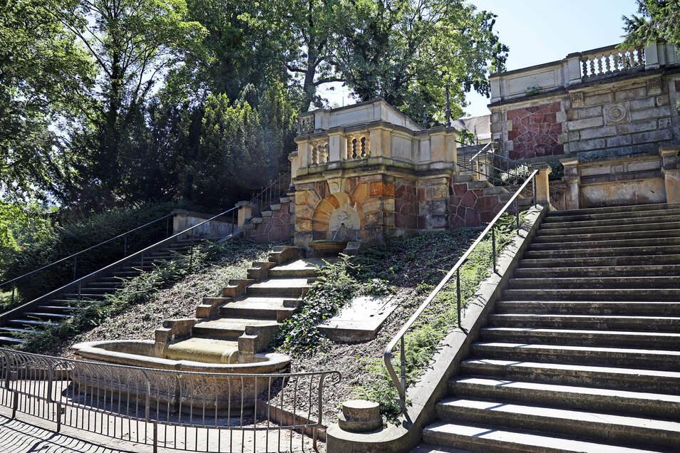 Freitreppe: Die 1878 erbaute Kaskade am Stadtpark ist der älteste öffentliche Brunnen in der Stadt.