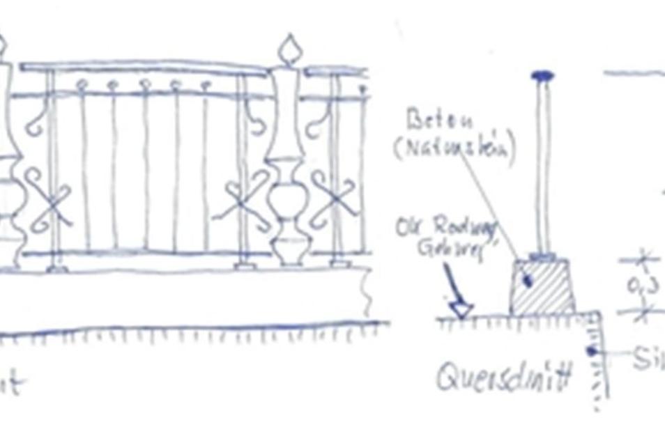 Der Brückenexperte Eckhart Thürmer hat hier seinen Vorschlag skizziert. Das alte Geländer steht auf einem Betonsockel und wäre dadurch ausreichend hoch.