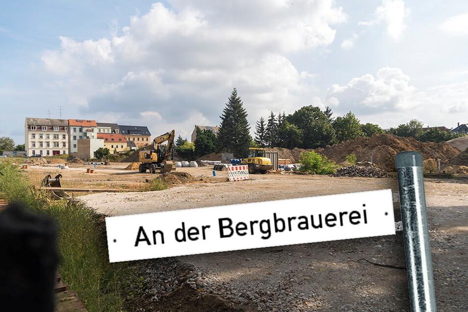 Noch ist auf dem Areal zwischen Poppitzer Straße (Häuser im Hintergrund) und Heimweg wenig von der neuen Wohnsiedlung zu erkennen. Nach der jetzt laufenden Erschließung sollen aber die ersten Häuser entstehen.