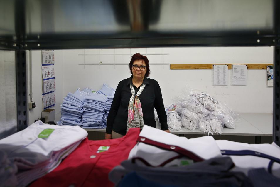 Grit Hartmann führt die Firma Kunath, die vor allem Arbeitsbekleidung herstellt.