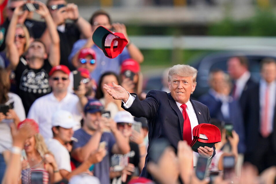 Wieder im Wahlkampf: Donald Trump in Wellington, Ohio.