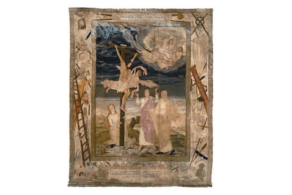 Das Kleine Zittauer Fastentuch von 1573 ist 15 Quadratmeter groß und zeigt die Passionsinstrumente, also das Leiden Christi.